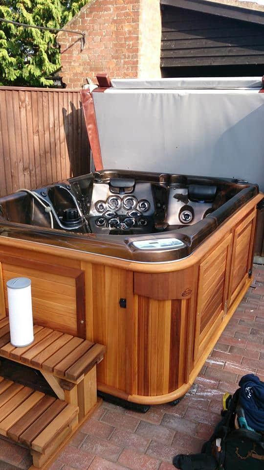 Empty Hot tub in the backyard